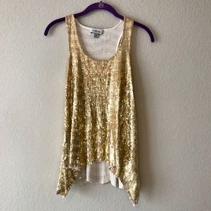 BeBe gold sequin racerback sleeveless top, XS